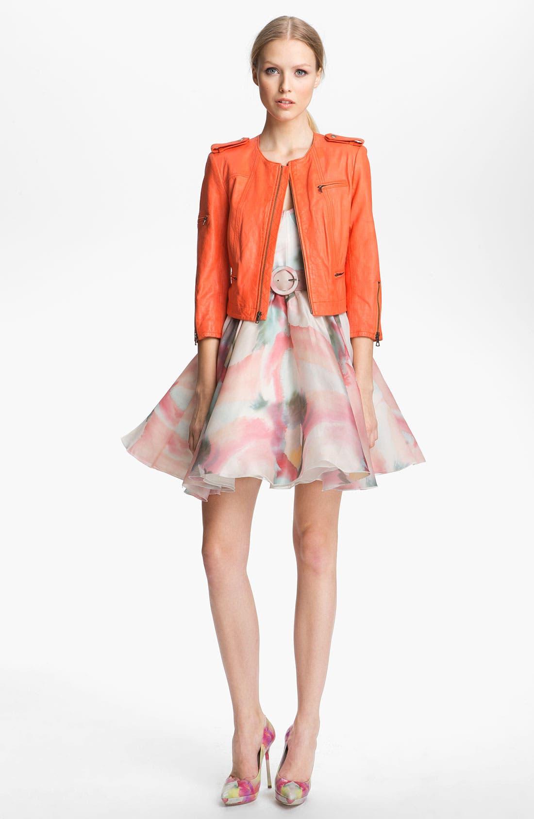 Alternate Image 3  - Alice + Olivia Belted Print Bustier Dress