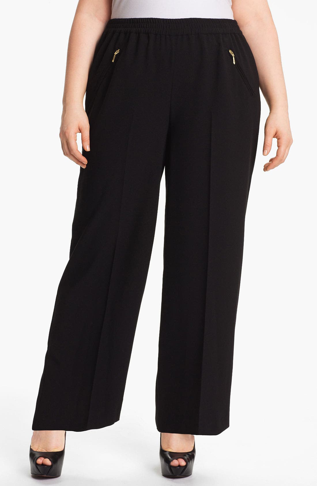 Alternate Image 1 Selected - Evans Wide Leg Trousers (Plus Size)