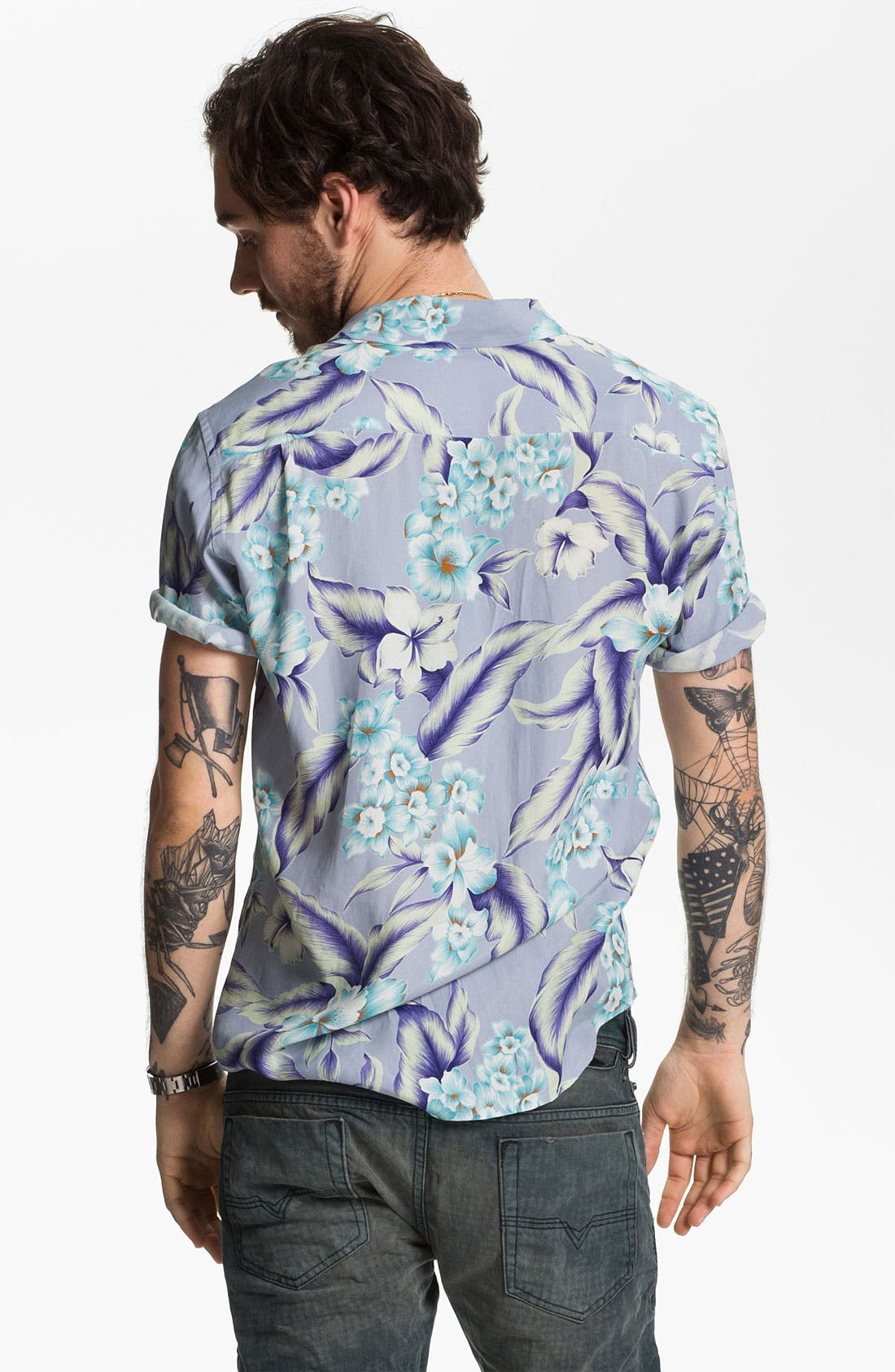 Alternate Image 2  - Stussy Deluxe Aloha Print Cotton Shirt