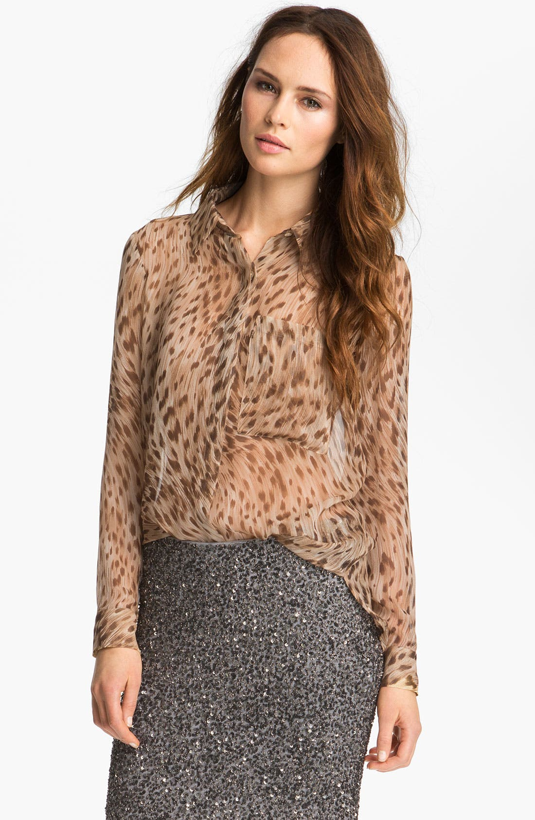 Alternate Image 1 Selected - Haute Hippie Leopard Print Silk Shirt