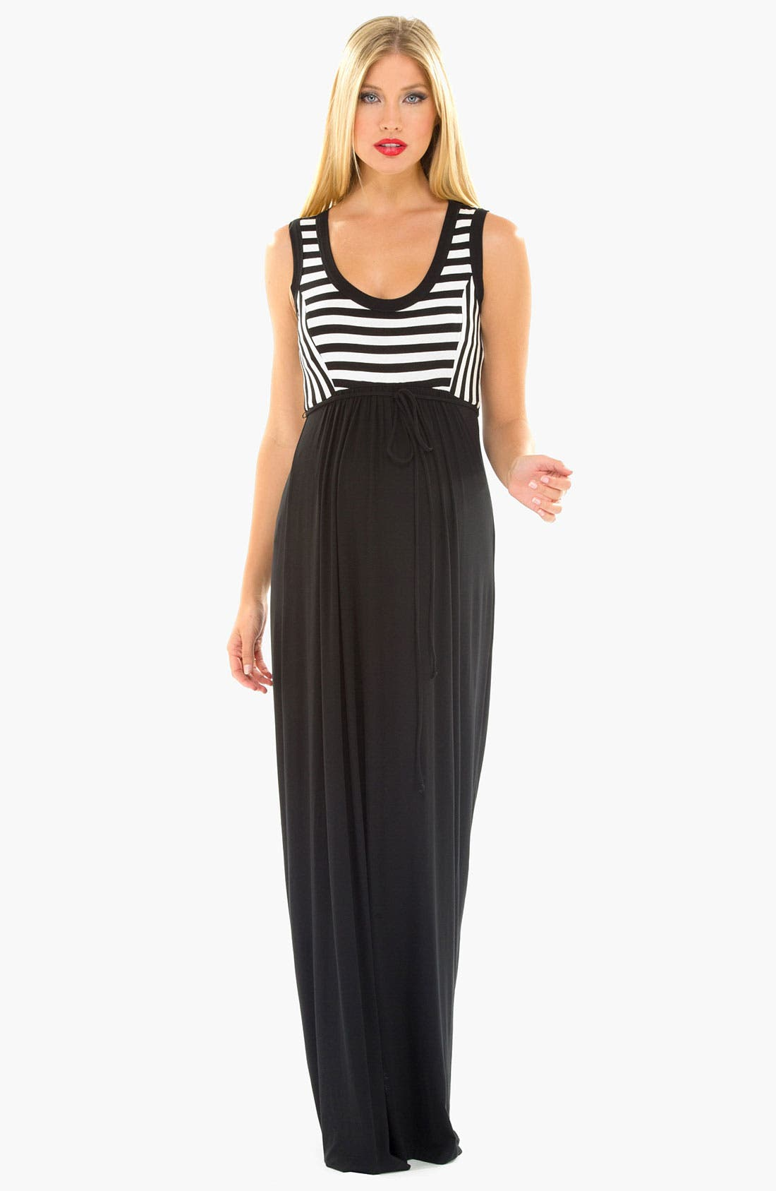 Main Image - Olian Stripe Knit Maternity Maxi Dress