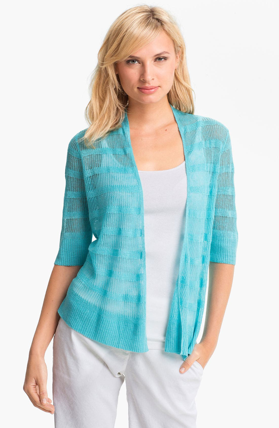 Alternate Image 1 Selected - Eileen Fisher Linen Stripe Open Front Cardigan (Petite)