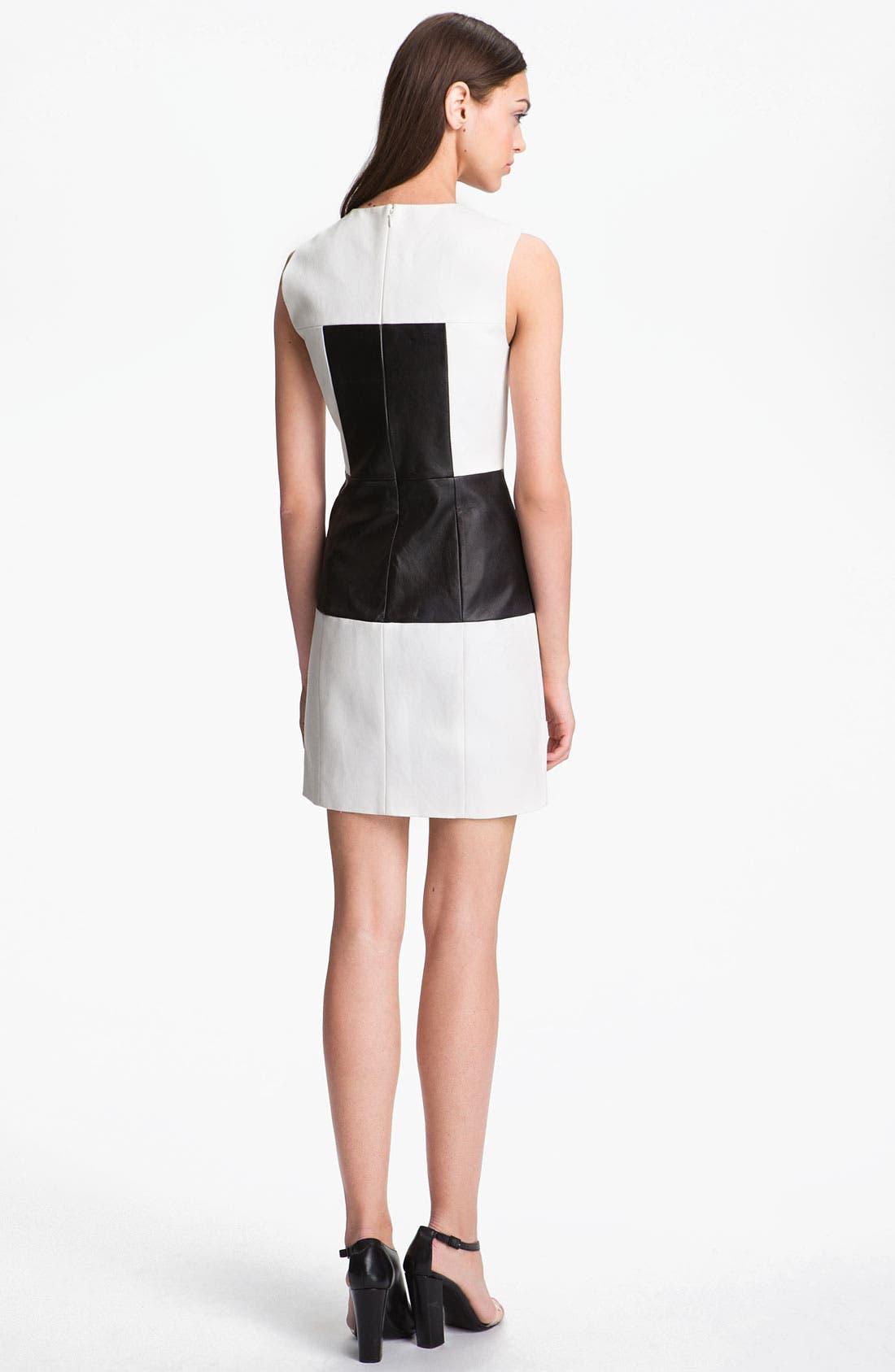 Alternate Image 2  - Tibi Paneled Leather & Cotton Dress