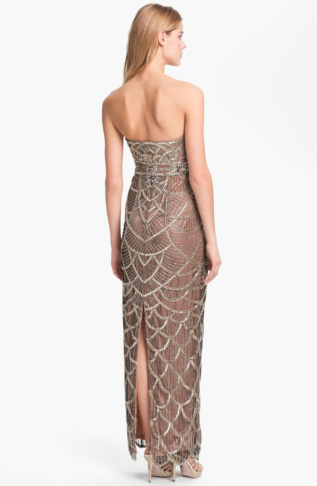 Alternate Image 2  - Sue Wong Embellished Strapless Mesh Gown