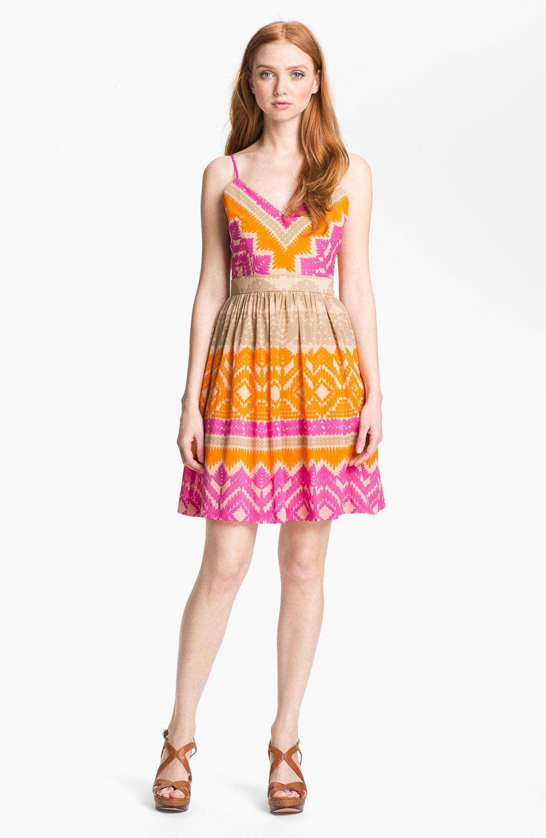 Main Image - Trina Turk 'Gypsum' Stretch Silk Fit & Flare Dress