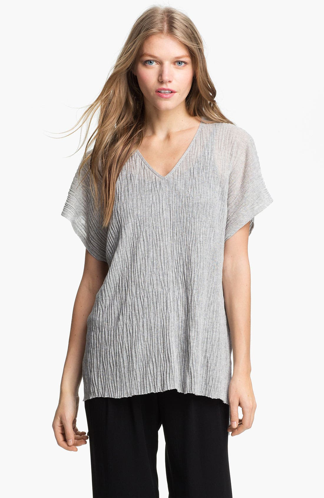 Alternate Image 1 Selected - Eileen Fisher Boxy Crinkled V-Neck Tunic