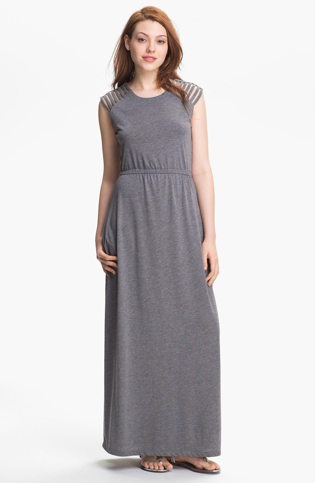 Main Image - Press Cutout Shoulder Maxi Dress (Online Exclusive)