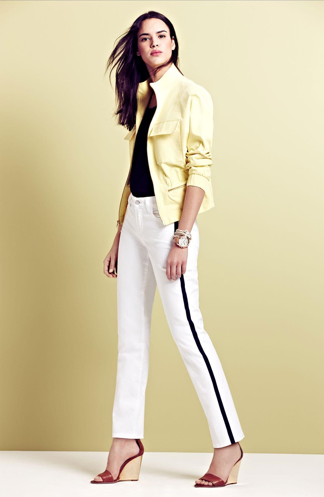 Alternate Image 1 Selected - NYDJ 'Sheri' Tuxedo Jeans & Top, Isaac Mizrahi New York Anorak