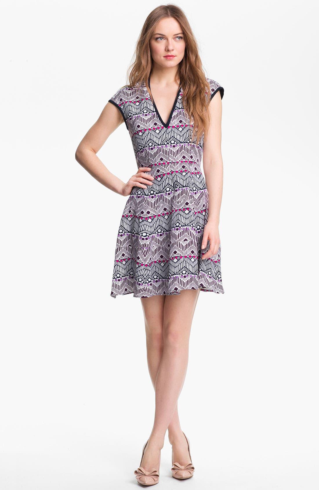 Alternate Image 1  - Nanette Lepore 'Deep Cove' Silk Blend Fit & Flare Dress
