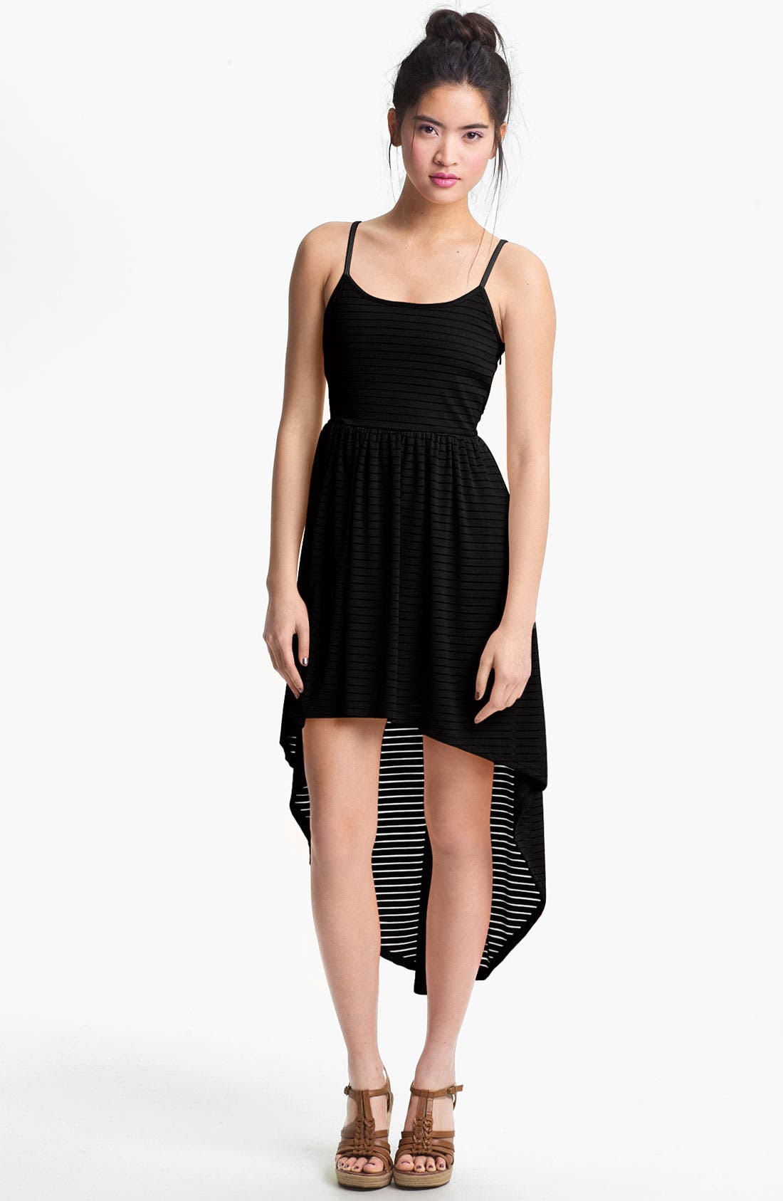 Alternate Image 1 Selected - Mimi Chica Sheer Stripe High/Low Dress (Juniors)