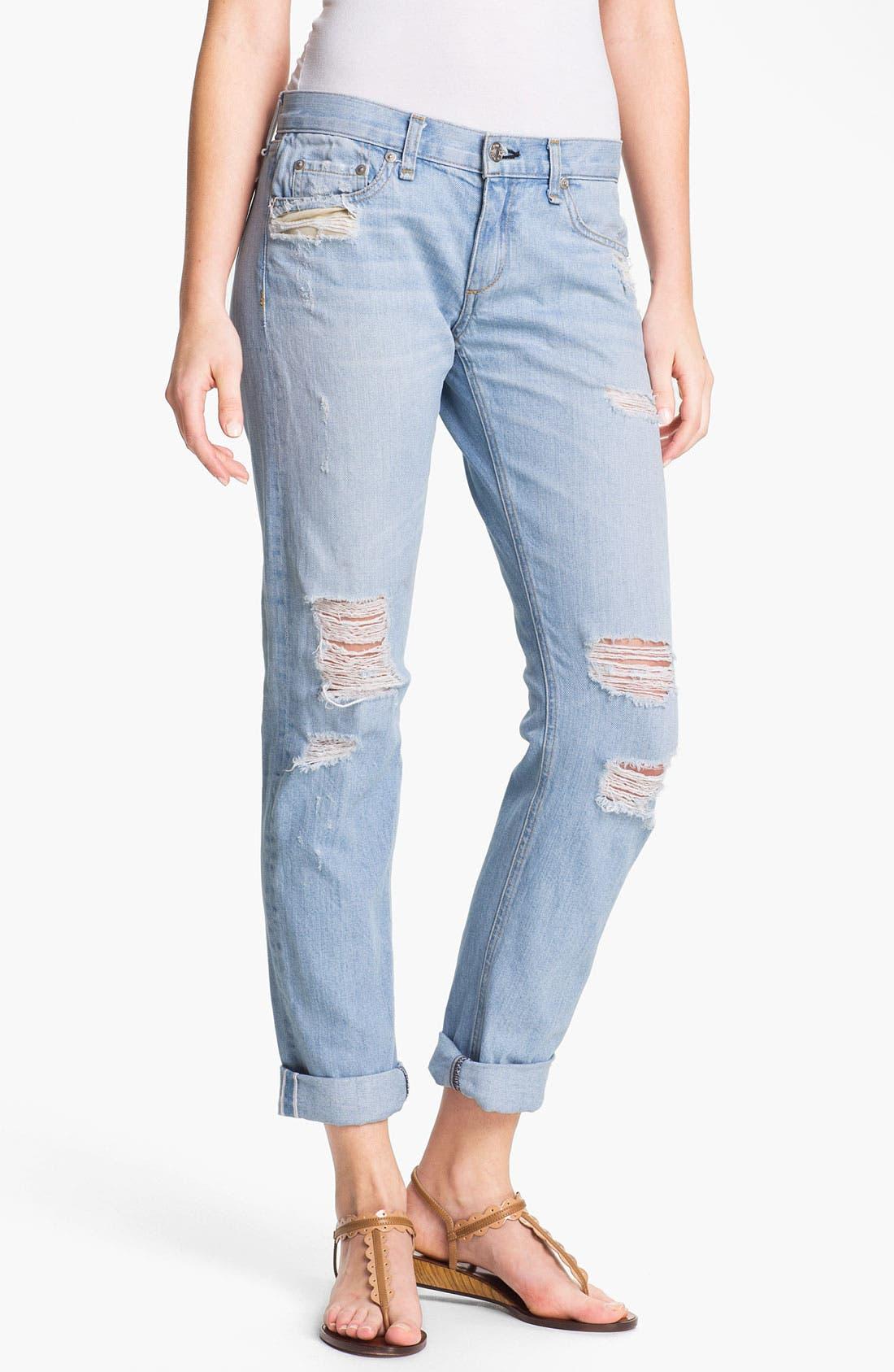 Alternate Image 1 Selected - rag & bone/JEAN 'The Boyfriend' Selvedge Denim Jeans