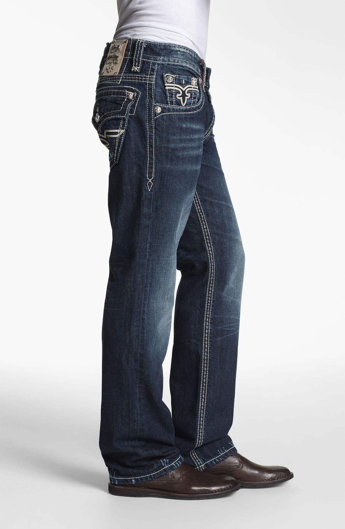 Alternate Image 3  - Rock Revival 'Alec' Straight Leg Jeans (Dark Blue)