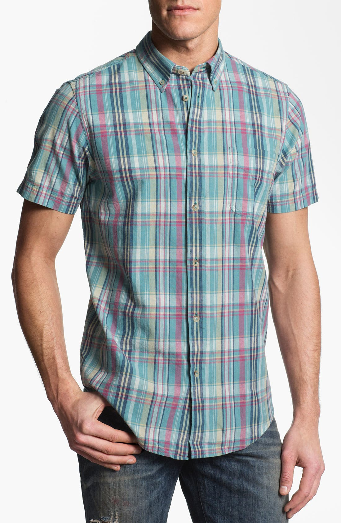 Alternate Image 1 Selected - Ben Sherman Washed Madras Check Woven Shirt