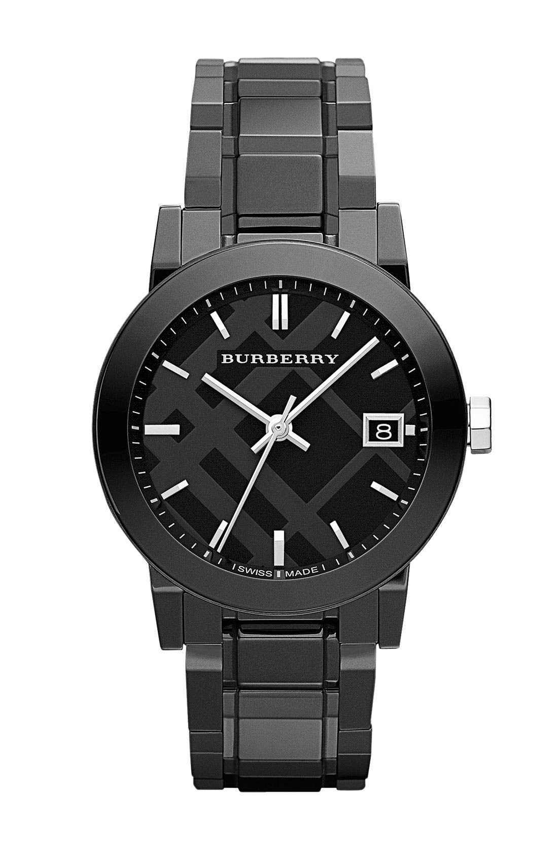 Main Image - Burberry Medium Ceramic Bracelet Watch, 34mm