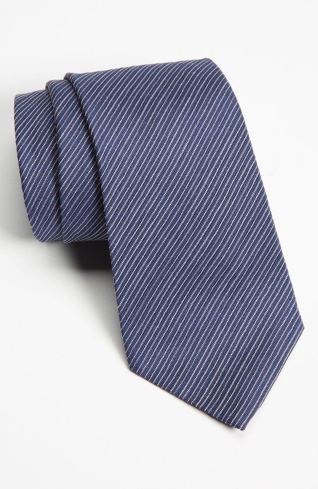Main Image - Z Zegna Stripe Woven Silk Tie