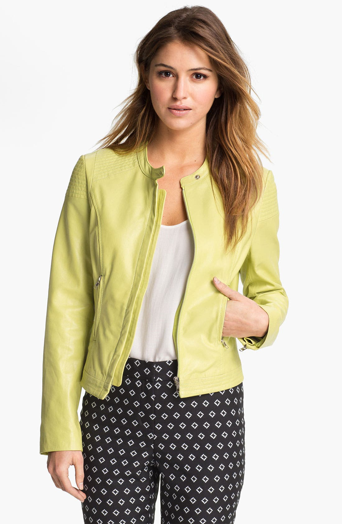 Alternate Image 1 Selected - Vince Camuto Leather Biker Jacket