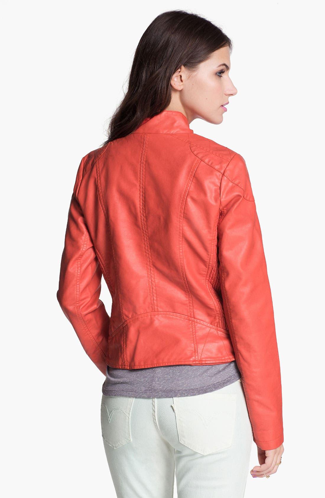 Alternate Image 2  - Collection B Retro Faux Leather Moto Jacket (Juniors)
