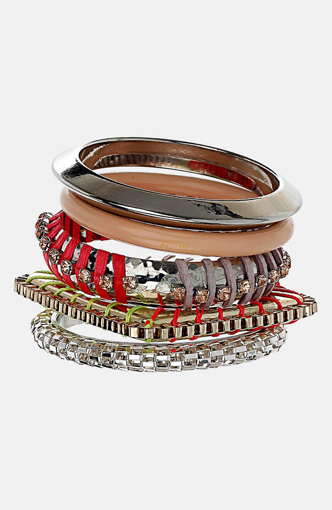 Alternate Image 1 Selected - Topshop 'Thread Wrap' Bracelets (Set of 5)