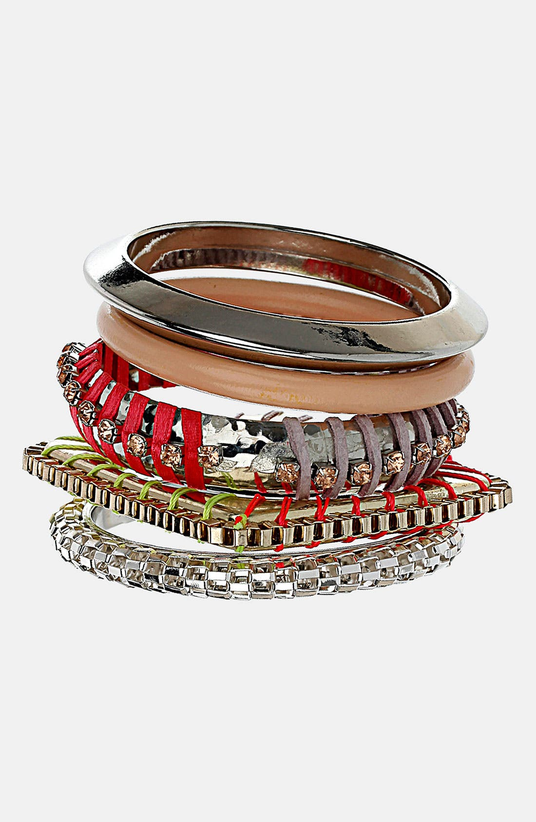 Main Image - Topshop 'Thread Wrap' Bracelets (Set of 5)