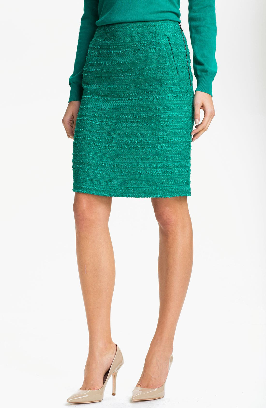 Main Image - Halogen® Textured Pencil Skirt (Petite)