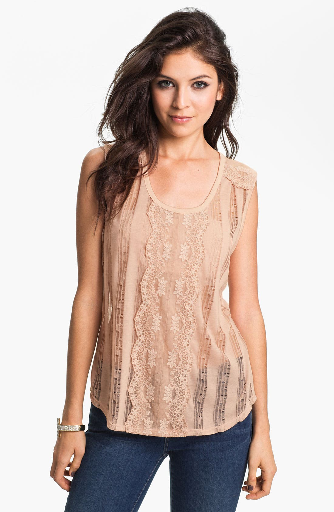 Alternate Image 1 Selected - h.i.p. Lace Trim Shredded Stripe Tank (Juniors)