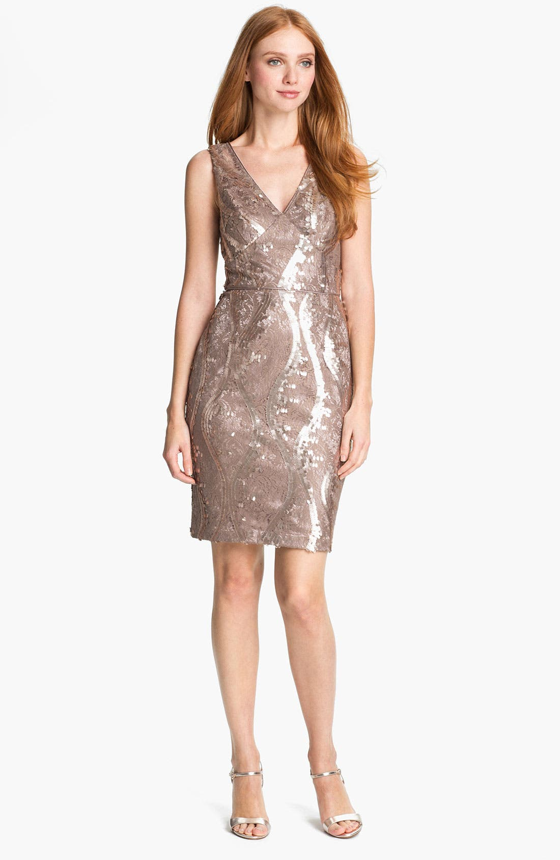 Alternate Image 1 Selected - Adrianna Papell Embellished Lace Cocktail Dress (Regular & Petite)
