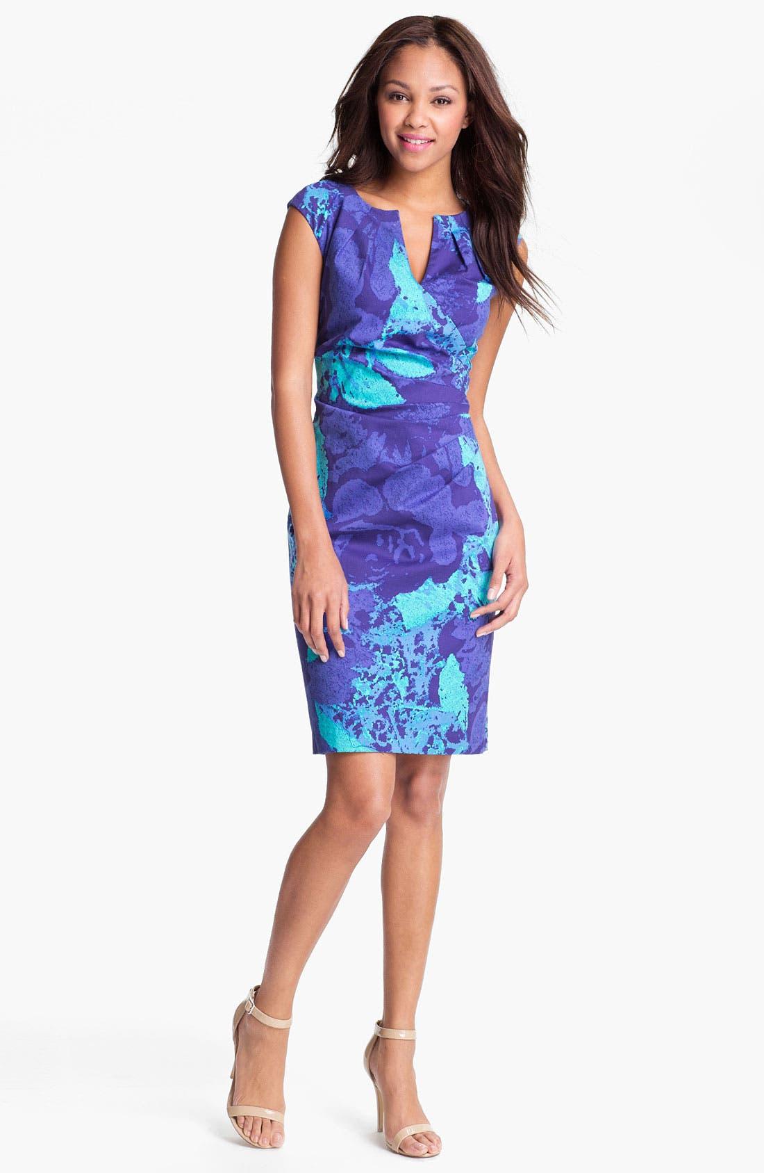 Main Image - Adrianna Papell Print Side Pleat Sheath Dress