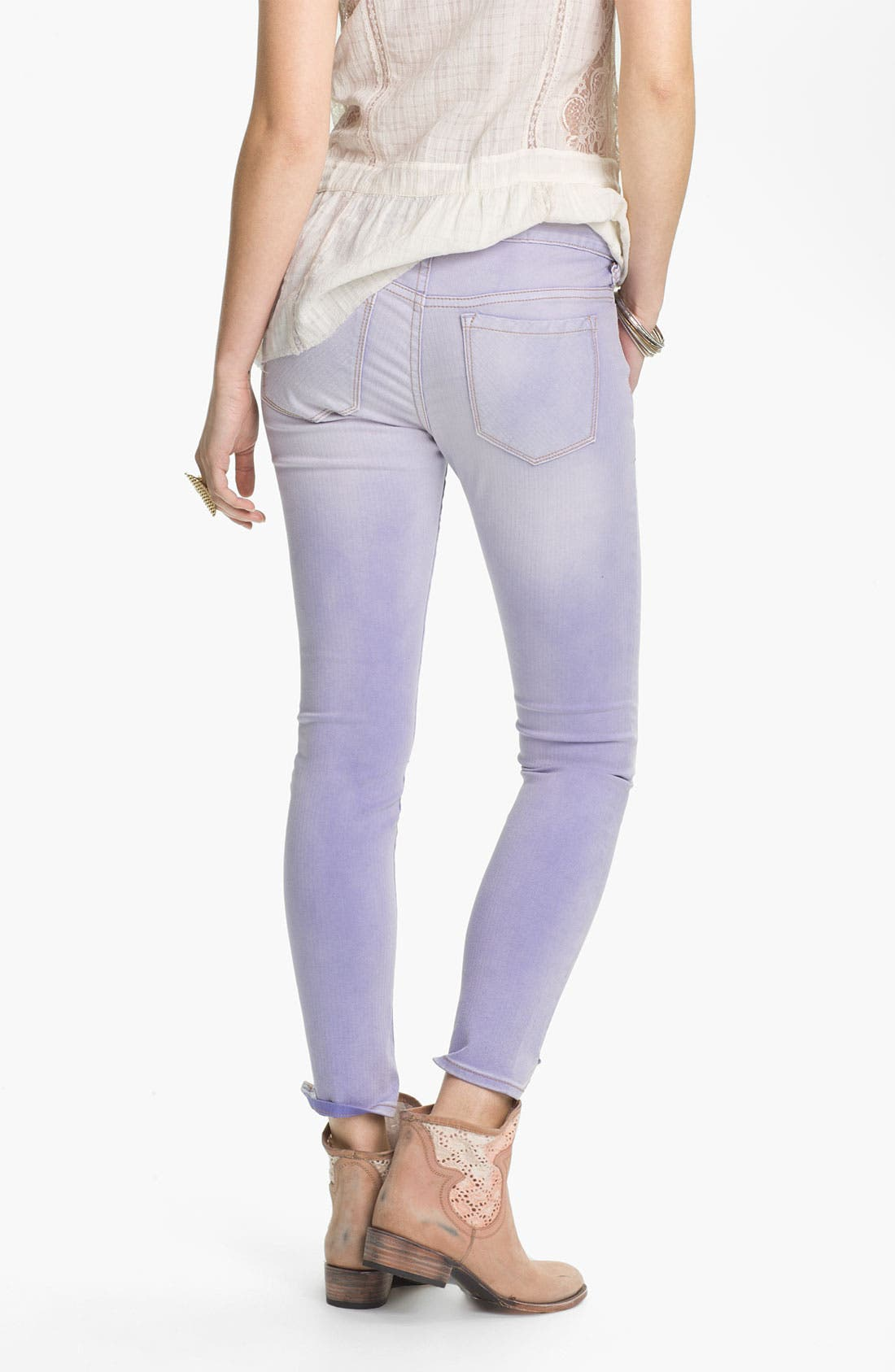 Alternate Image 2  - Free People Crop Stretch Denim Skinny Jeans (Clements Blue)