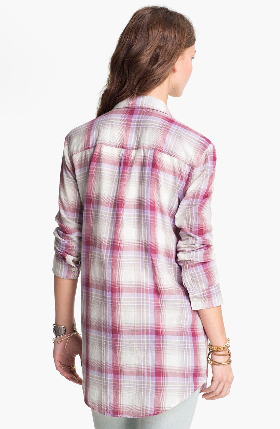 Alternate Image 2  - Rubbish® Plaid Tunic Shirt (Juniors)