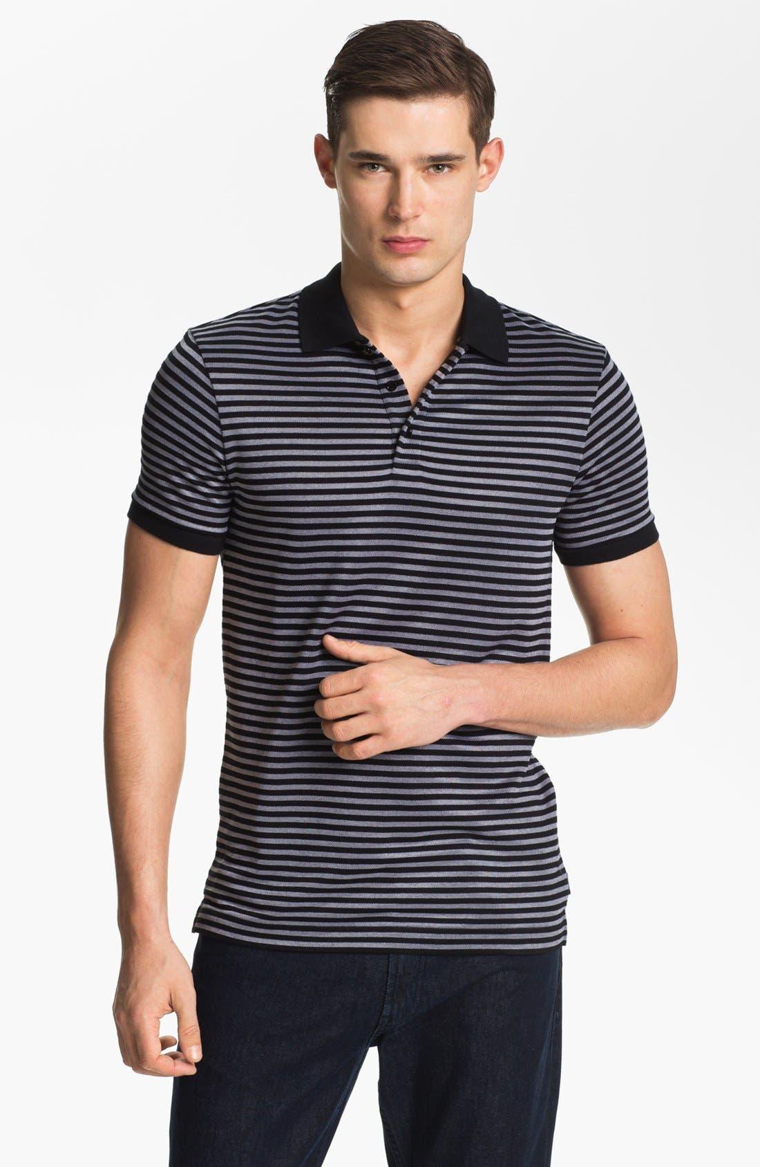 Main Image - Armani Collezioni Stripe Piqué Polo