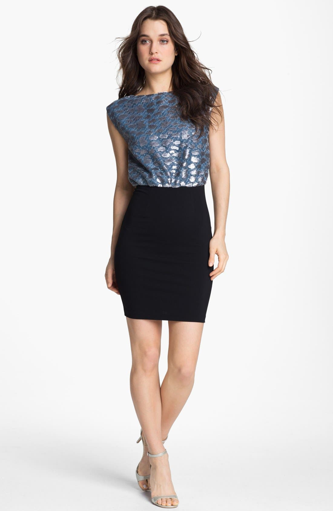 Main Image - ERIN erin fetherston Metallic Blouson Pencil Dress