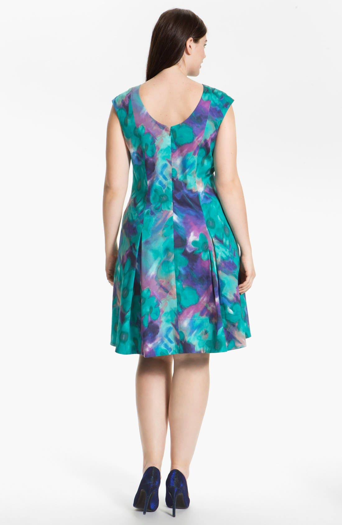 Alternate Image 2  - Eliza J Print Fit & Flare Dress (Plus Size)