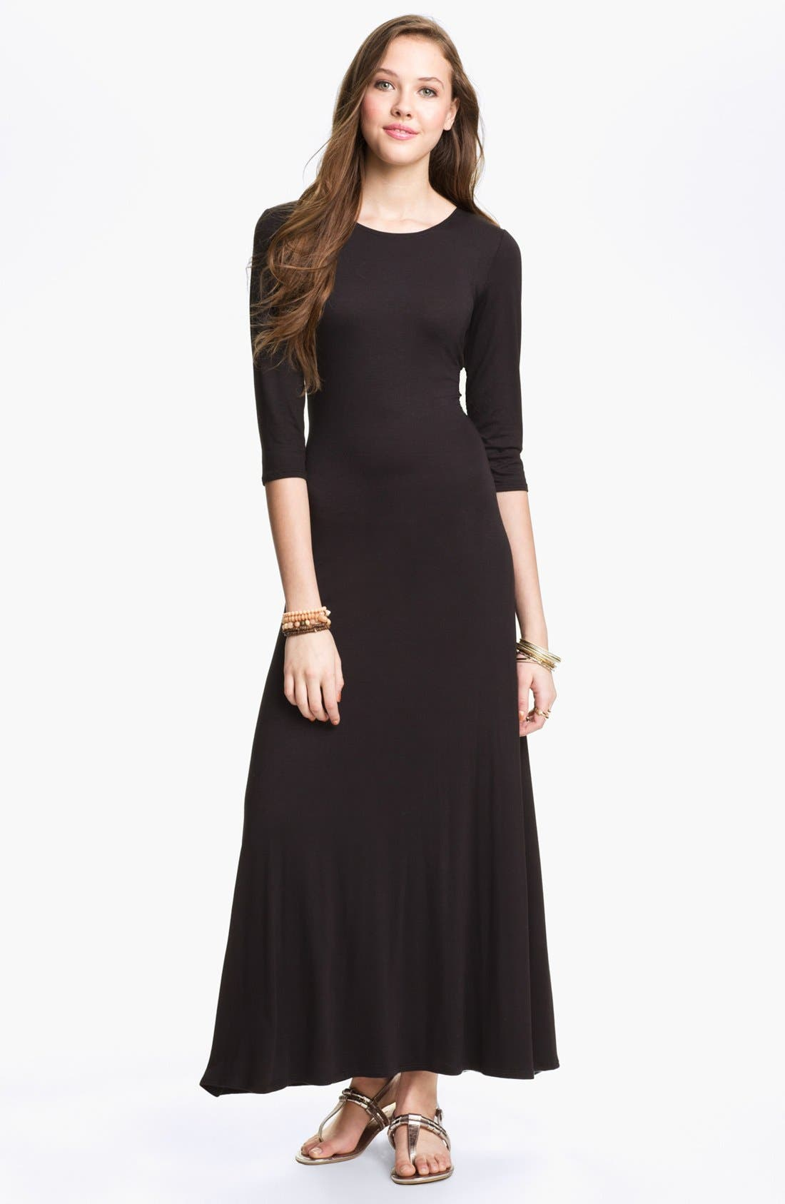 Alternate Image 1 Selected - Hidden Heart U-Back Three Quarter Sleeve Maxi Dress (Juniors) (Online Only)