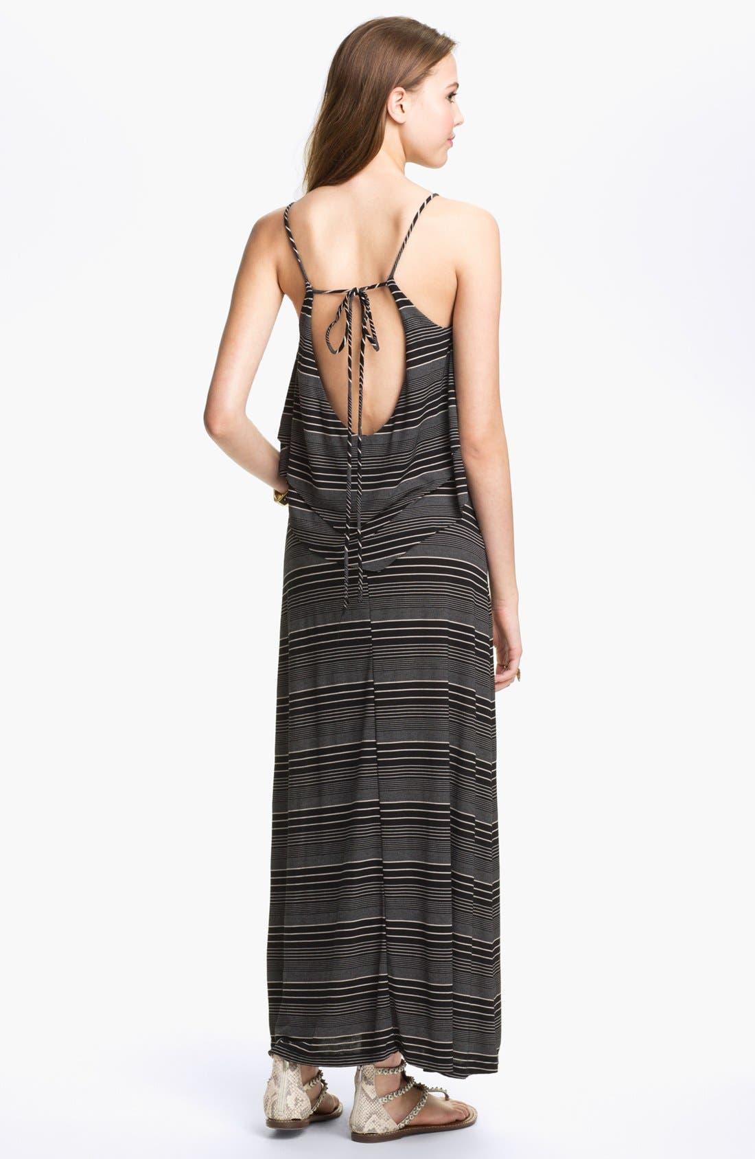 Alternate Image 2  - Hidden Heart Tiered Ruffle Maxi Dress (Juniors)
