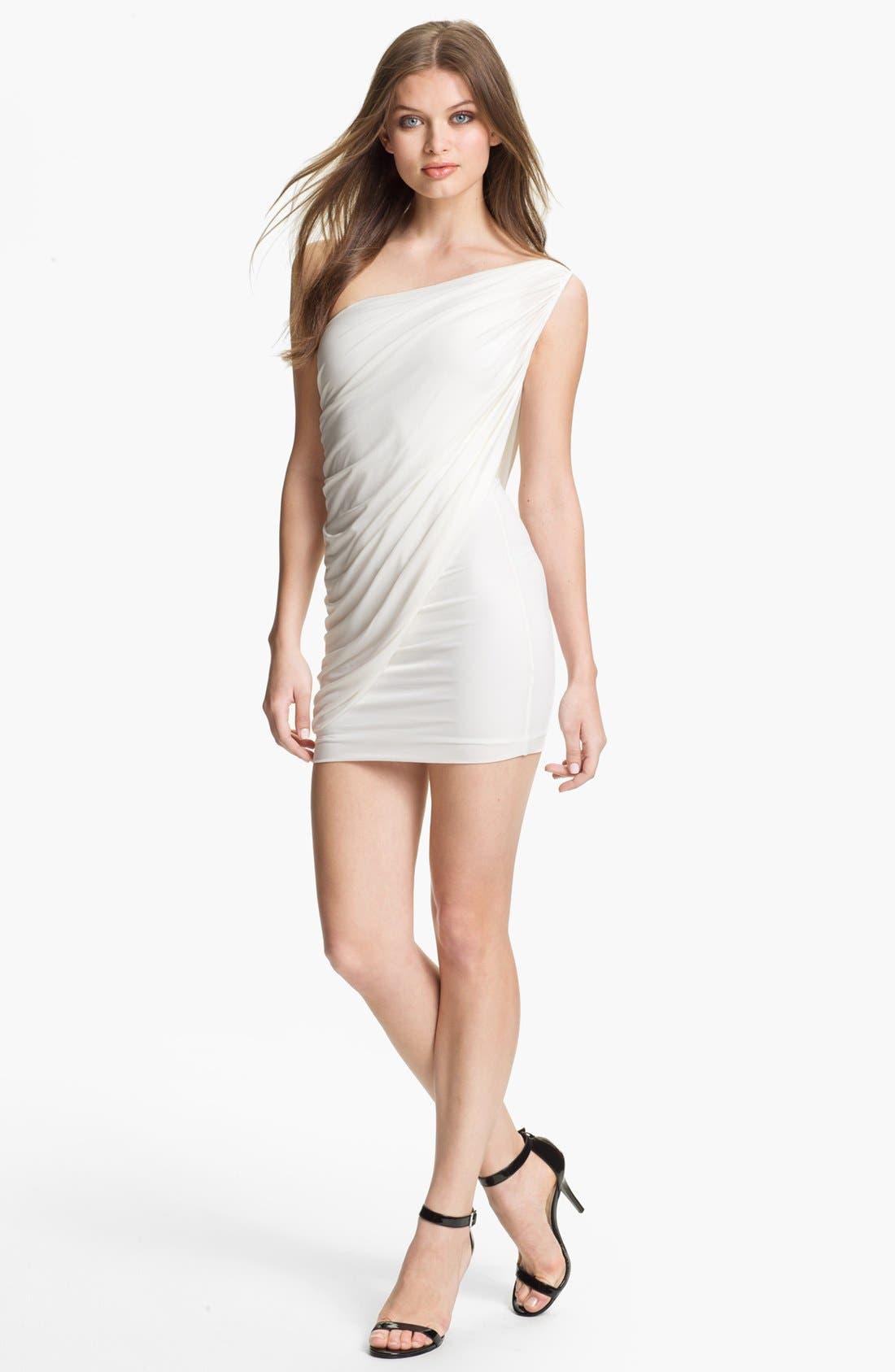 Main Image - BCBGMAXAZRIA Draped One Shoulder Jersey Minidress