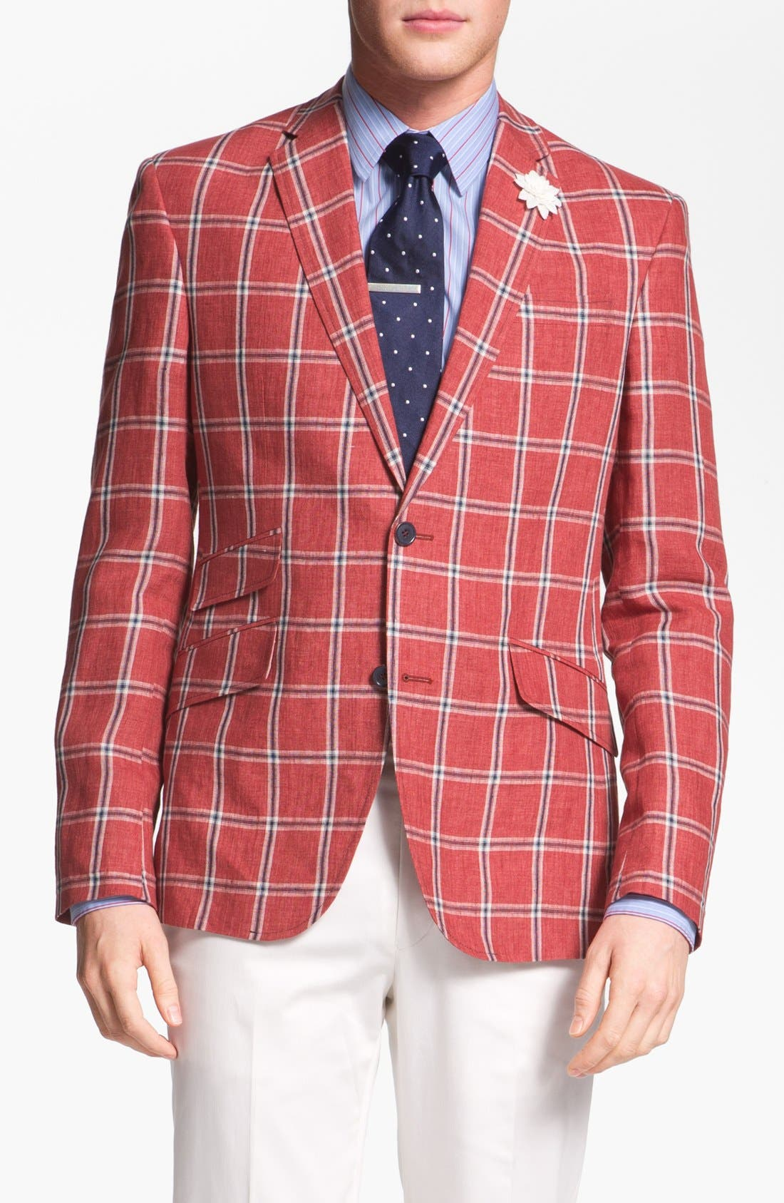 Alternate Image 1 Selected - Ted Baker London Trim Fit Windowpane Sportcoat