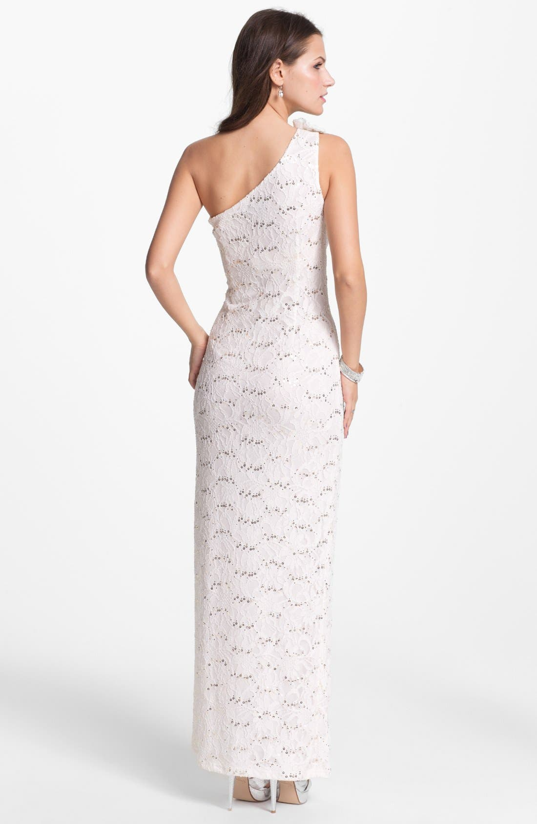 Alternate Image 2  - Hailey by Adrianna Papell One Shoulder Sequin Lace Gown (Online Exclusive)
