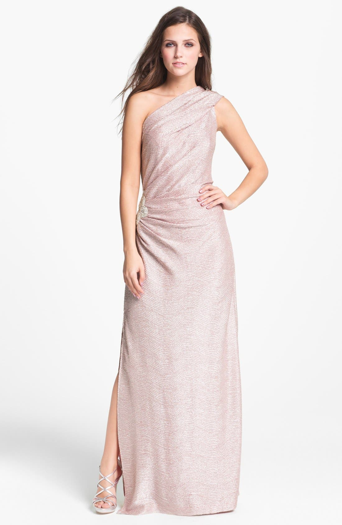 Main Image - Hailey by Adrianna Papell Metallic One Shoulder Gown (Online Only)