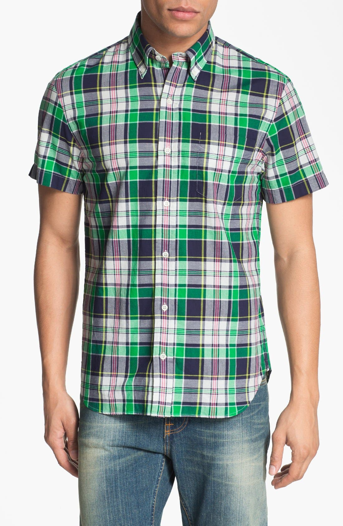 Alternate Image 1 Selected - J. Press York Street Short Sleeve Plaid Cotton Shirt
