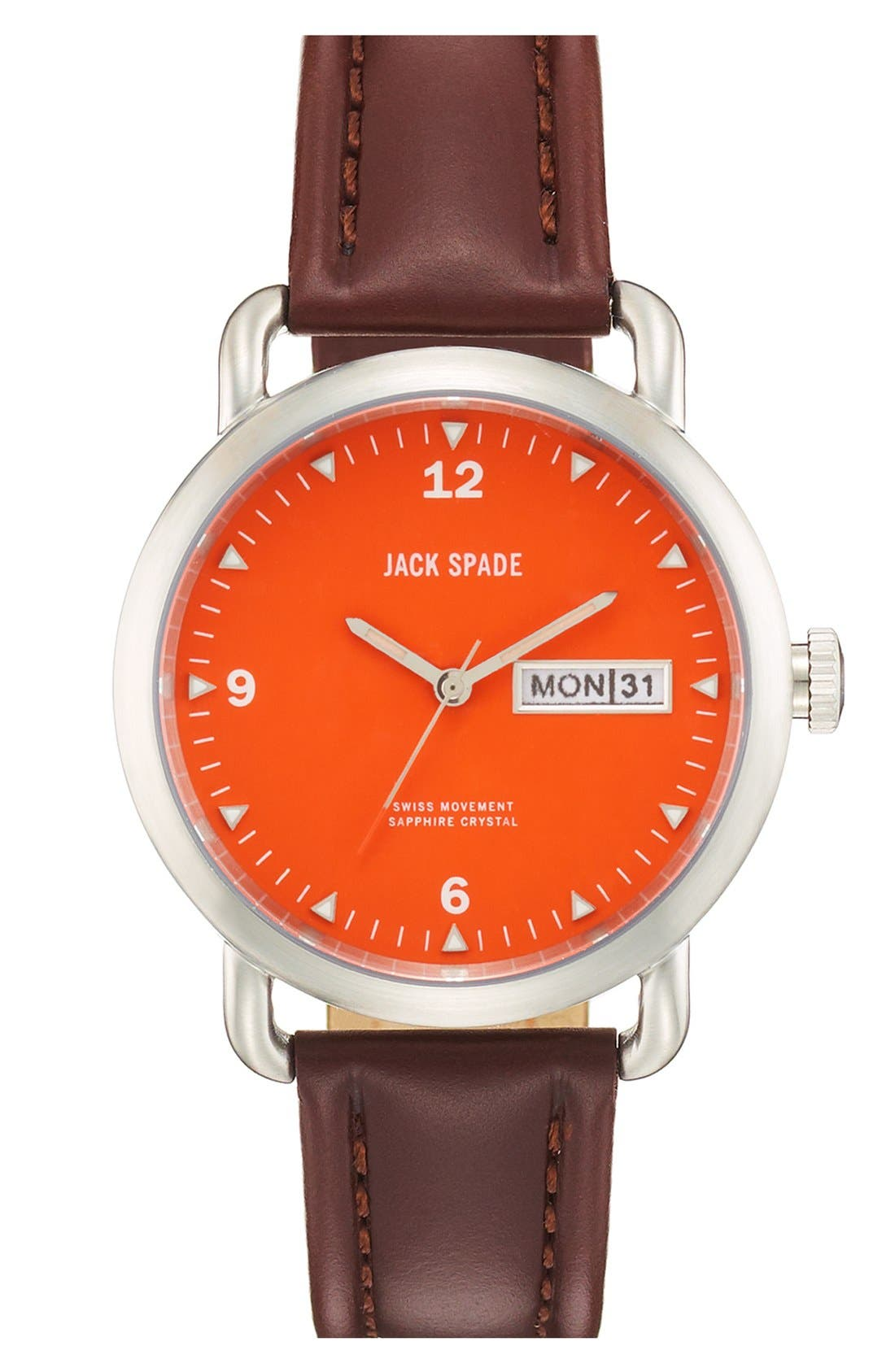 JACK SPADE 'Classic Military - Stillwell' Round Watch,