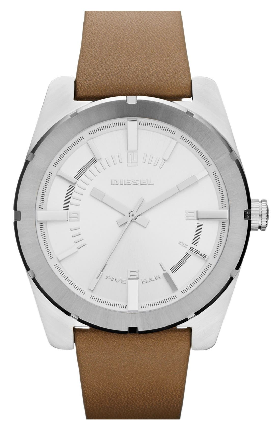 Alternate Image 1 Selected - DIESEL® 'Good Company' Leather Strap Watch, 44mm