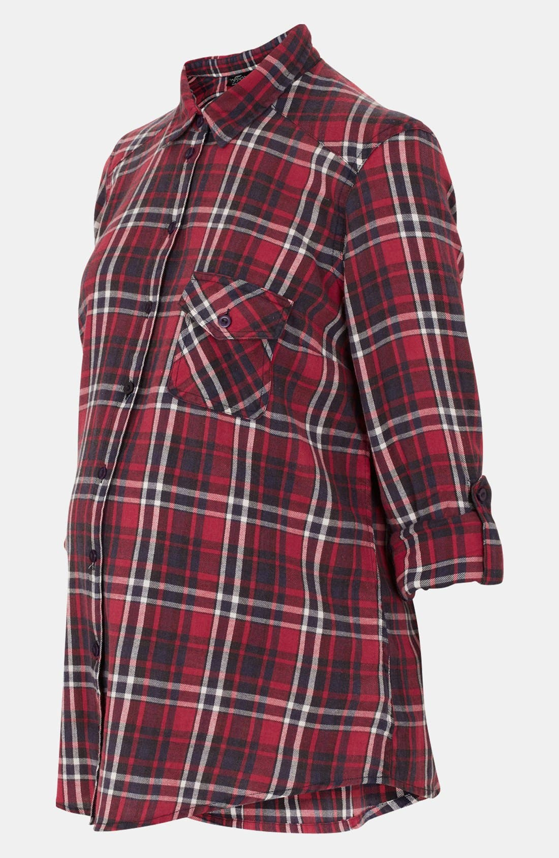 Main Image - Topshop Red Check Maternity Shirt