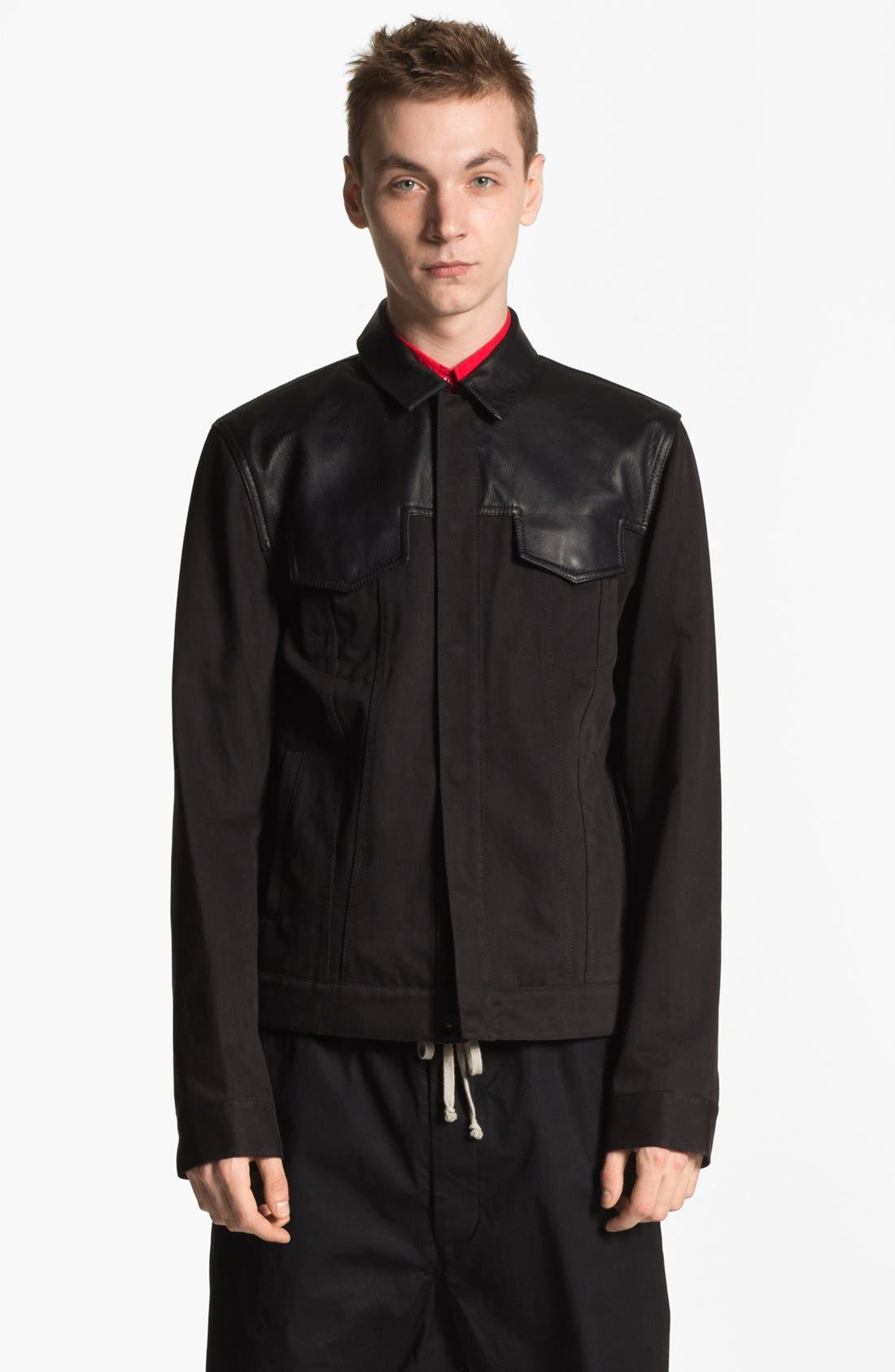 Main Image - T by Alexander Wang Cotton & Leather Bomber Jacket