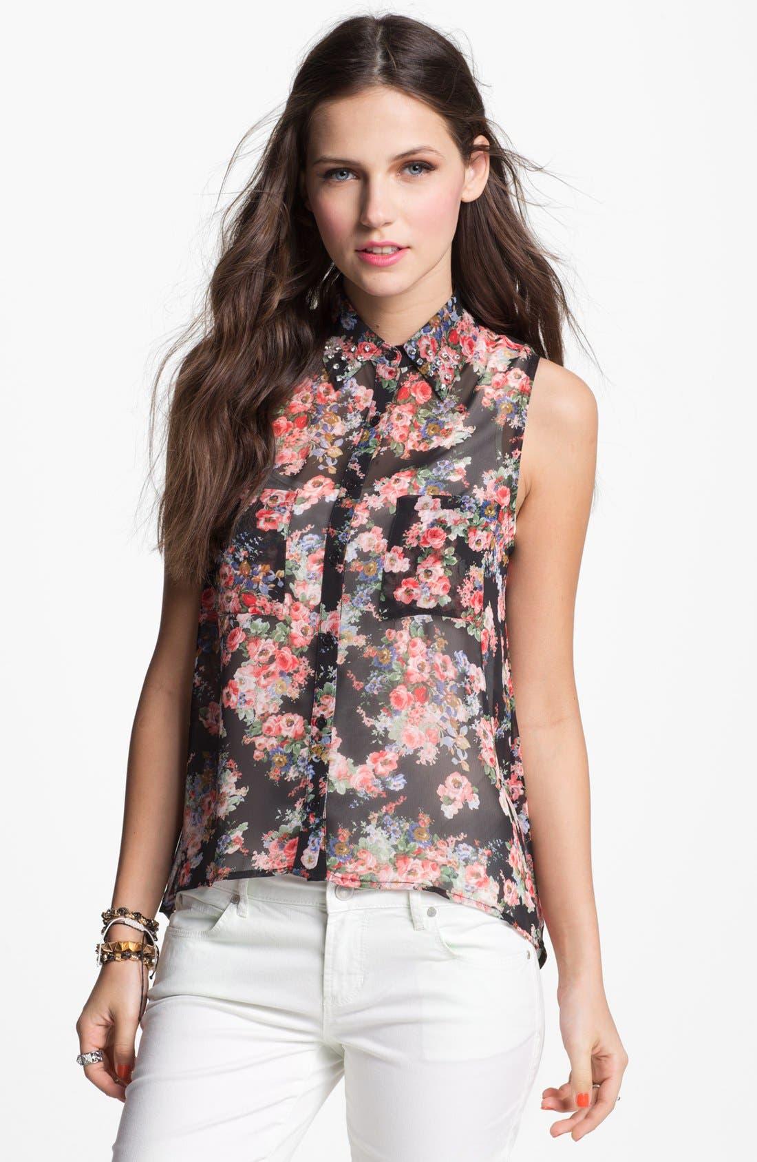 Main Image - Elodie Stud Collar Cutout Chiffon Shirt (Juniors)