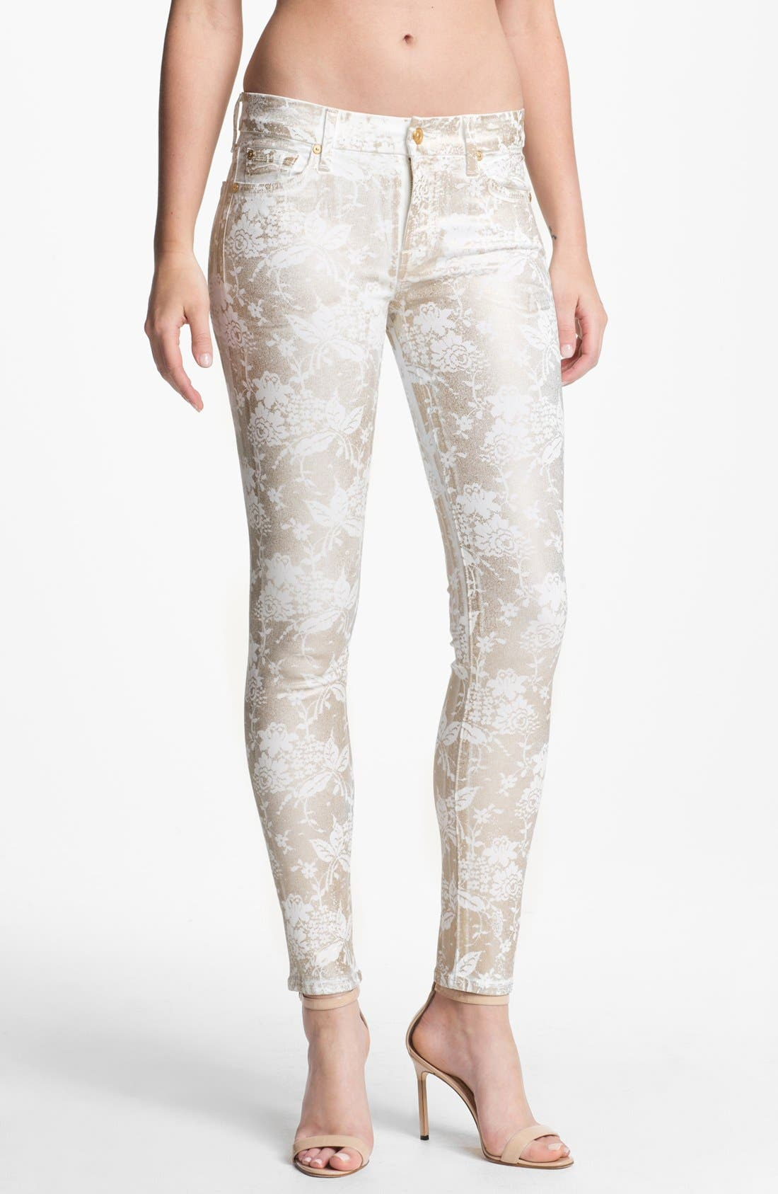 Main Image - 7 For All Mankind® 'The Skinny' Print Stretch Jeans (White/Almond Foil)