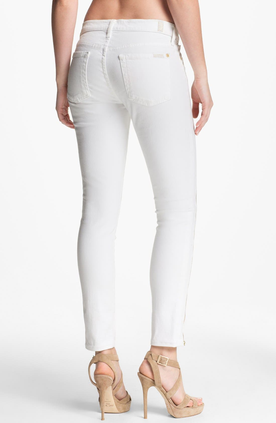 Alternate Image 2  - 7 For All Mankind® 'The Cropped Skinny' Zip Trim Jeans