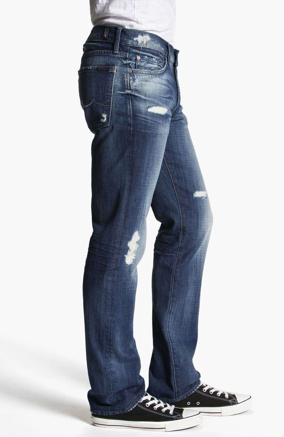 Alternate Image 3  - 7 For All Mankind® 'Slimmy' Slim Straight Leg Jeans (Mosby Creek Destroyed)