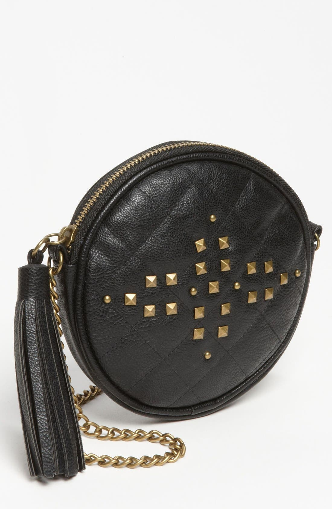 Main Image - Lulu 'Cross Stud - Small' Quilted Faux Leather Crossbody Bag