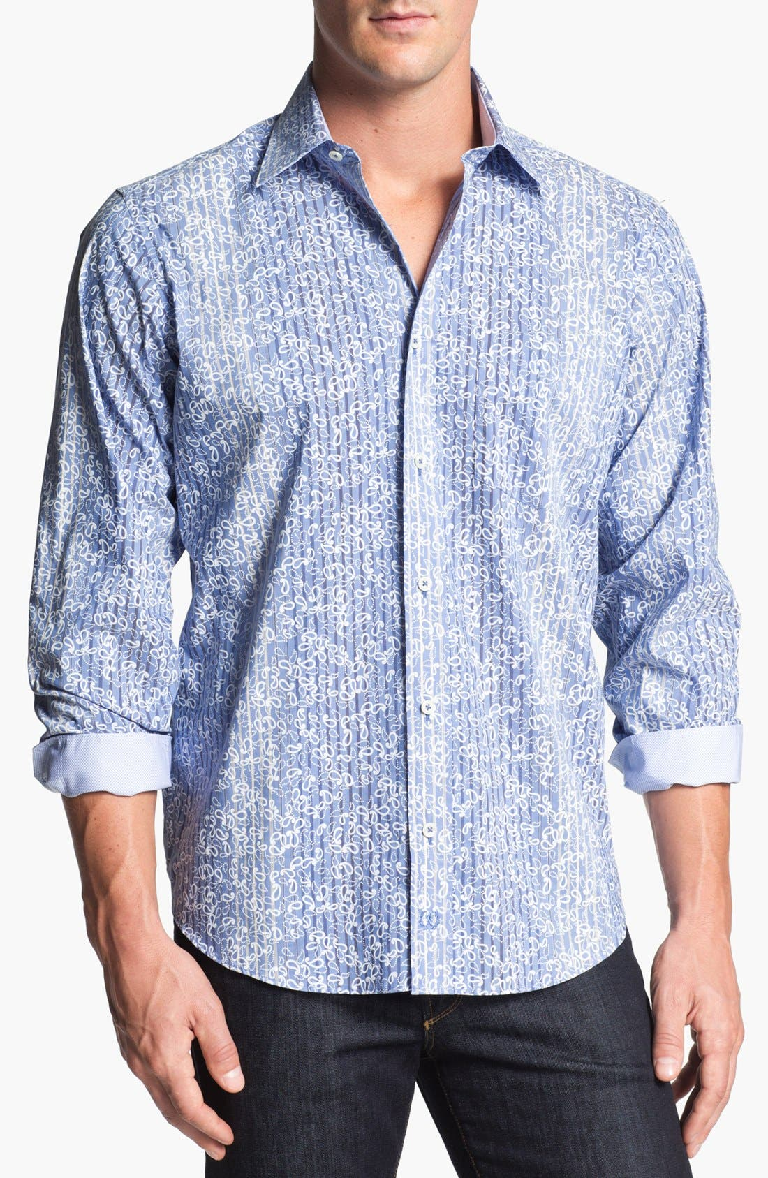 Alternate Image 1 Selected - Bugatchi Striped Paisley Classic Fit Cotton Sport Shirt