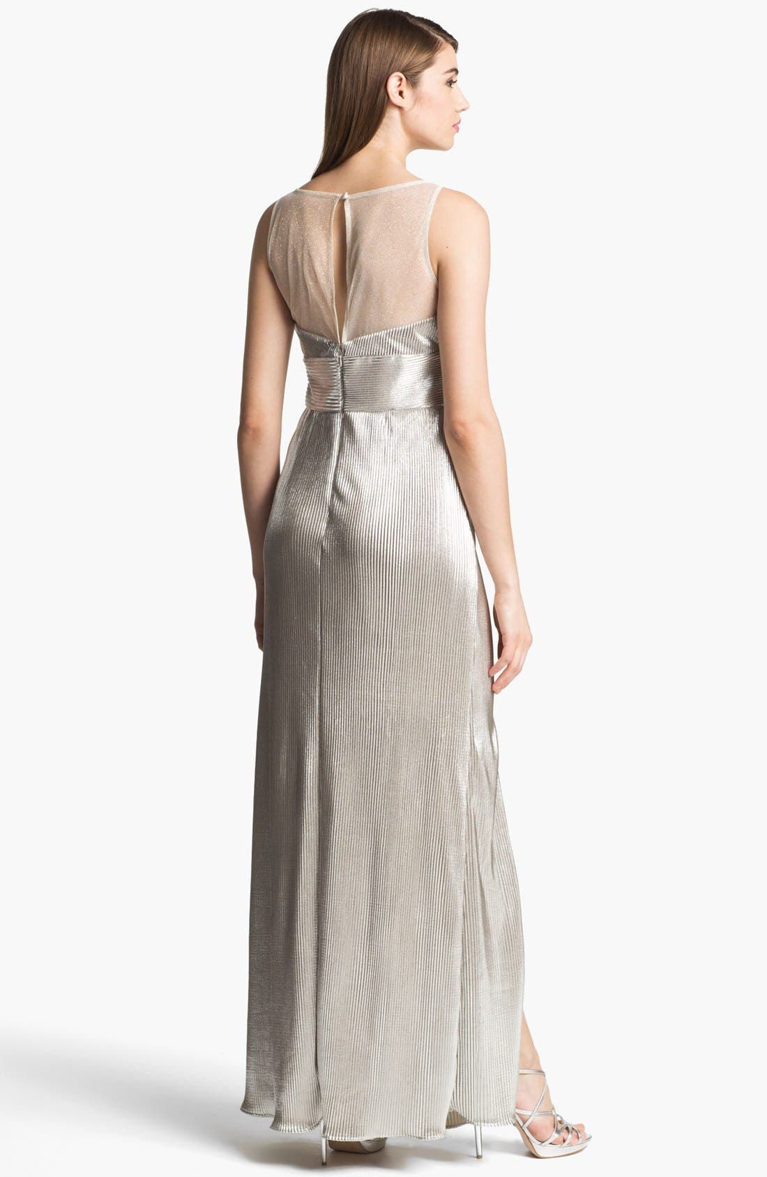 Alternate Image 2  - Hailey by Adrianna Papell Metallic Illusion Yoke Gown (Online Only)
